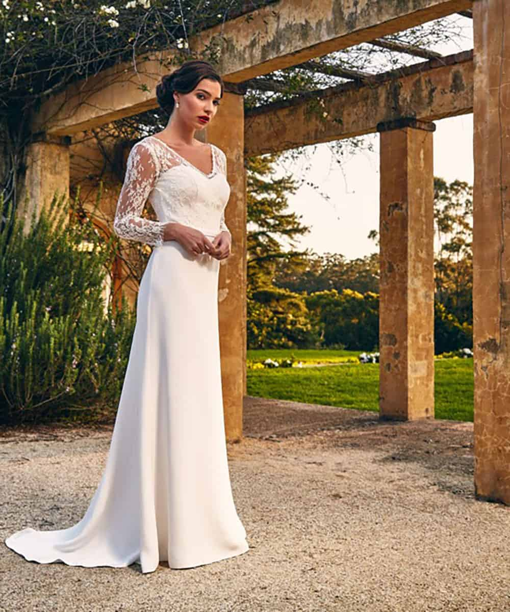 The Tiana gown from Bertossi Brides collection 16-17 with sheer lace sleeves.
