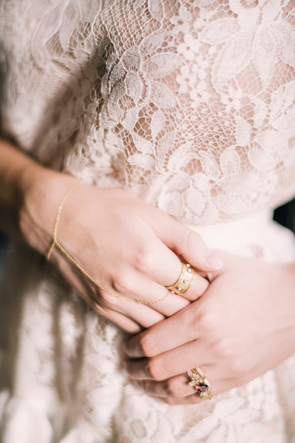 Gold rings and bracelet
