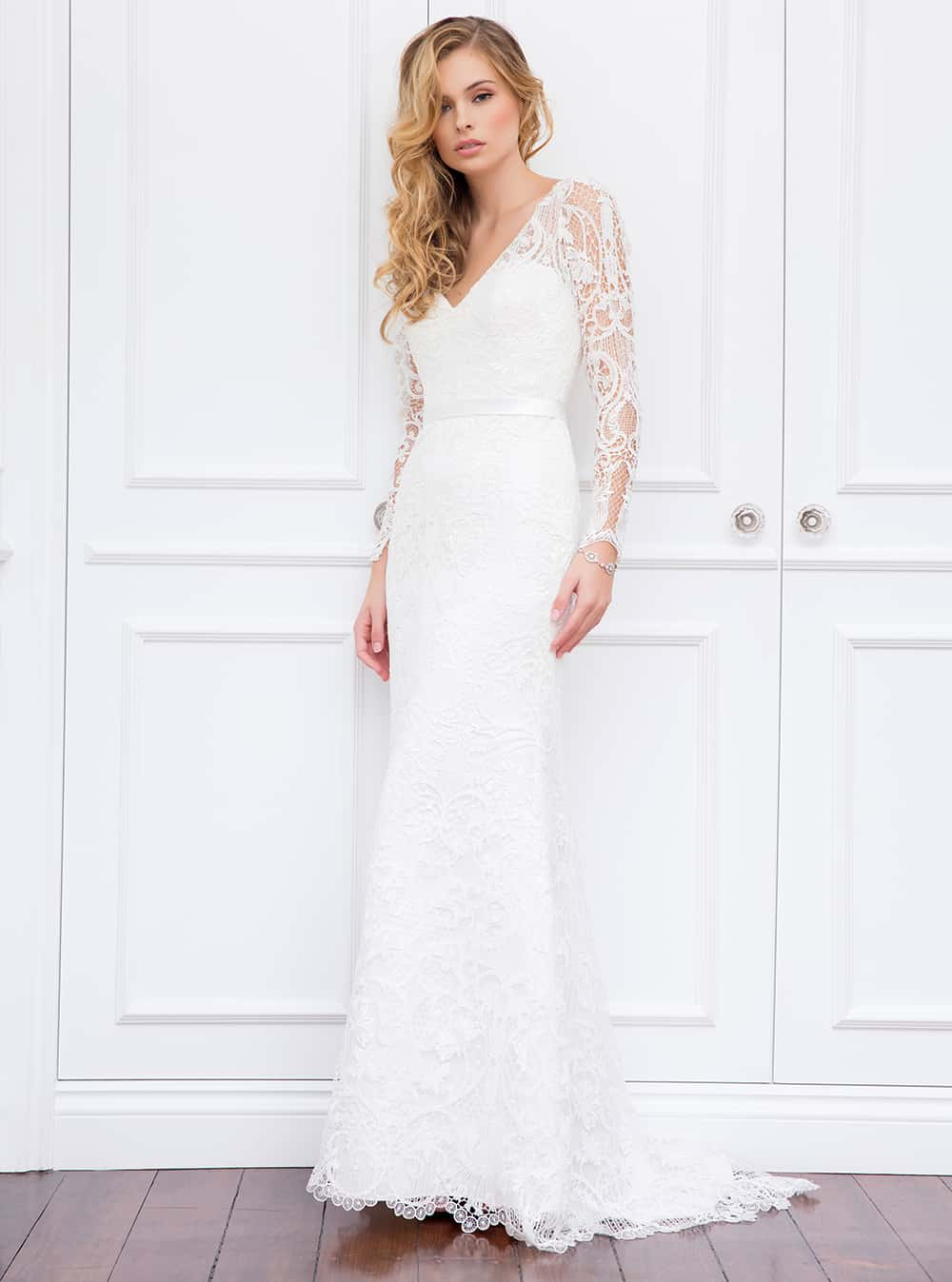 The Jasmin wedding gown with lace sheer sleeve and short train from Wendy Makin Couture.