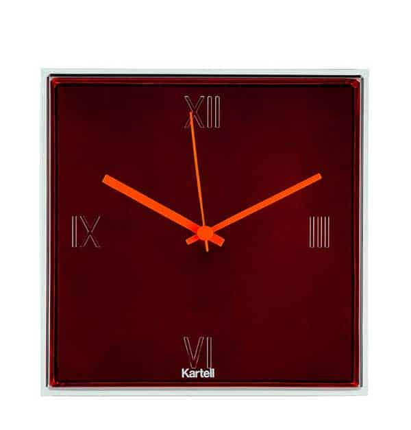 Kartell Tic & Tac orange nd maroon clock from David Jones.