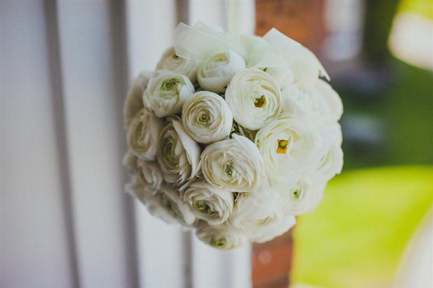 White rose wedding bouquet.