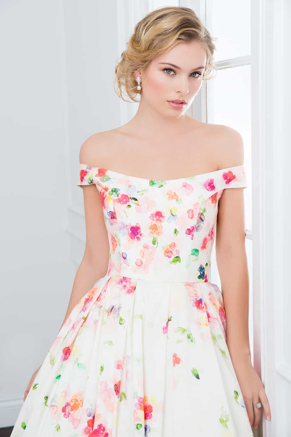 The Daphne floral off the shoulder wedding gown from Wendy Makin Couture.