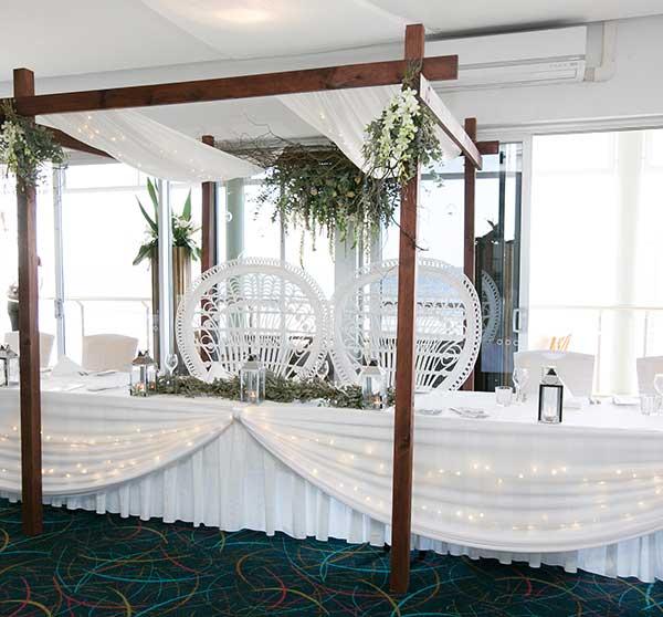 Coastal themed wedding reception
