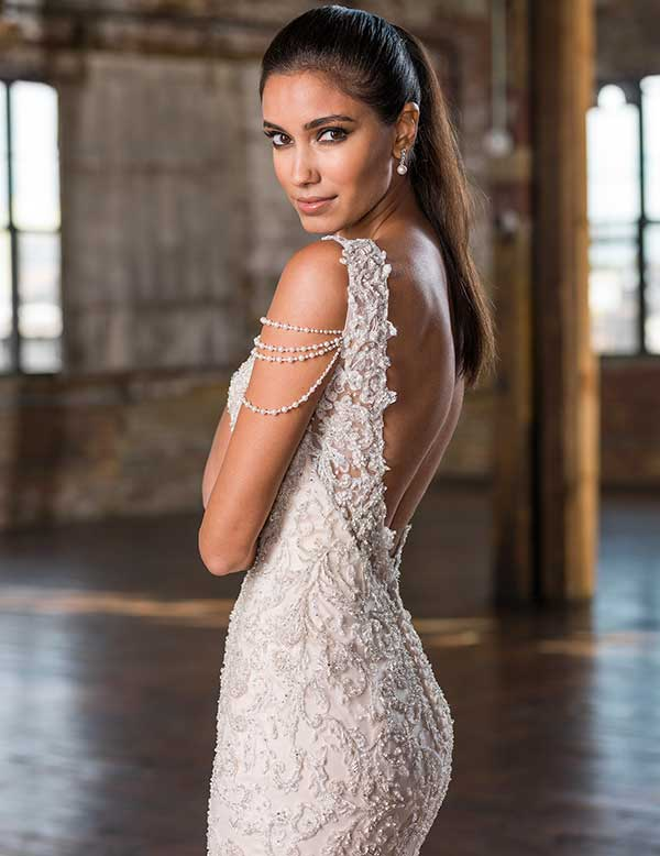 Lilian West beaded open back wedding gown from Spring Summer 2016 collection