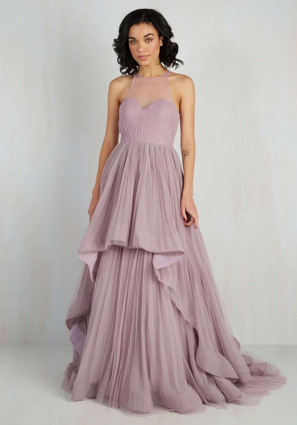 Purple toned wedding dress from Modcloth.