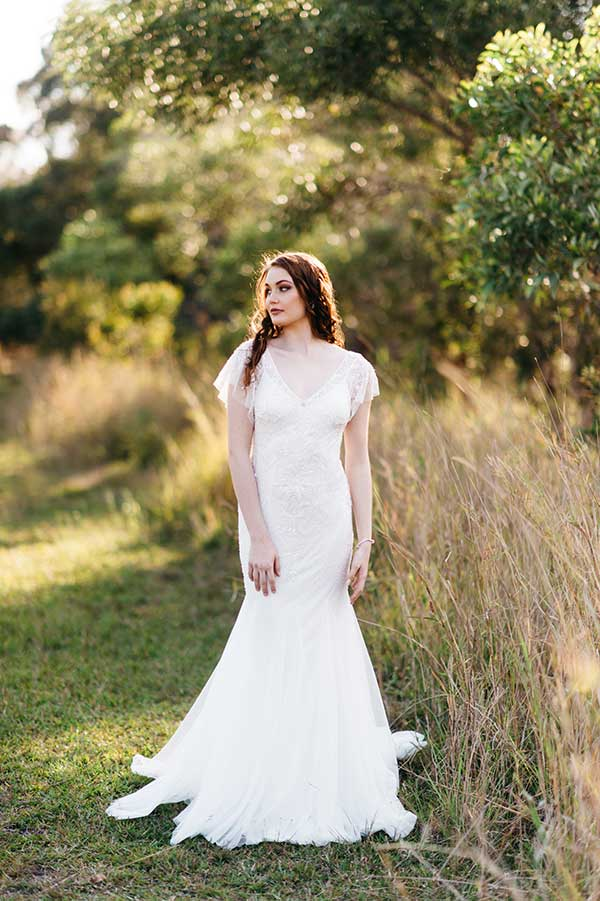 The Suzanne lace trim vintage wedding dress from BellaDonna Bridal.