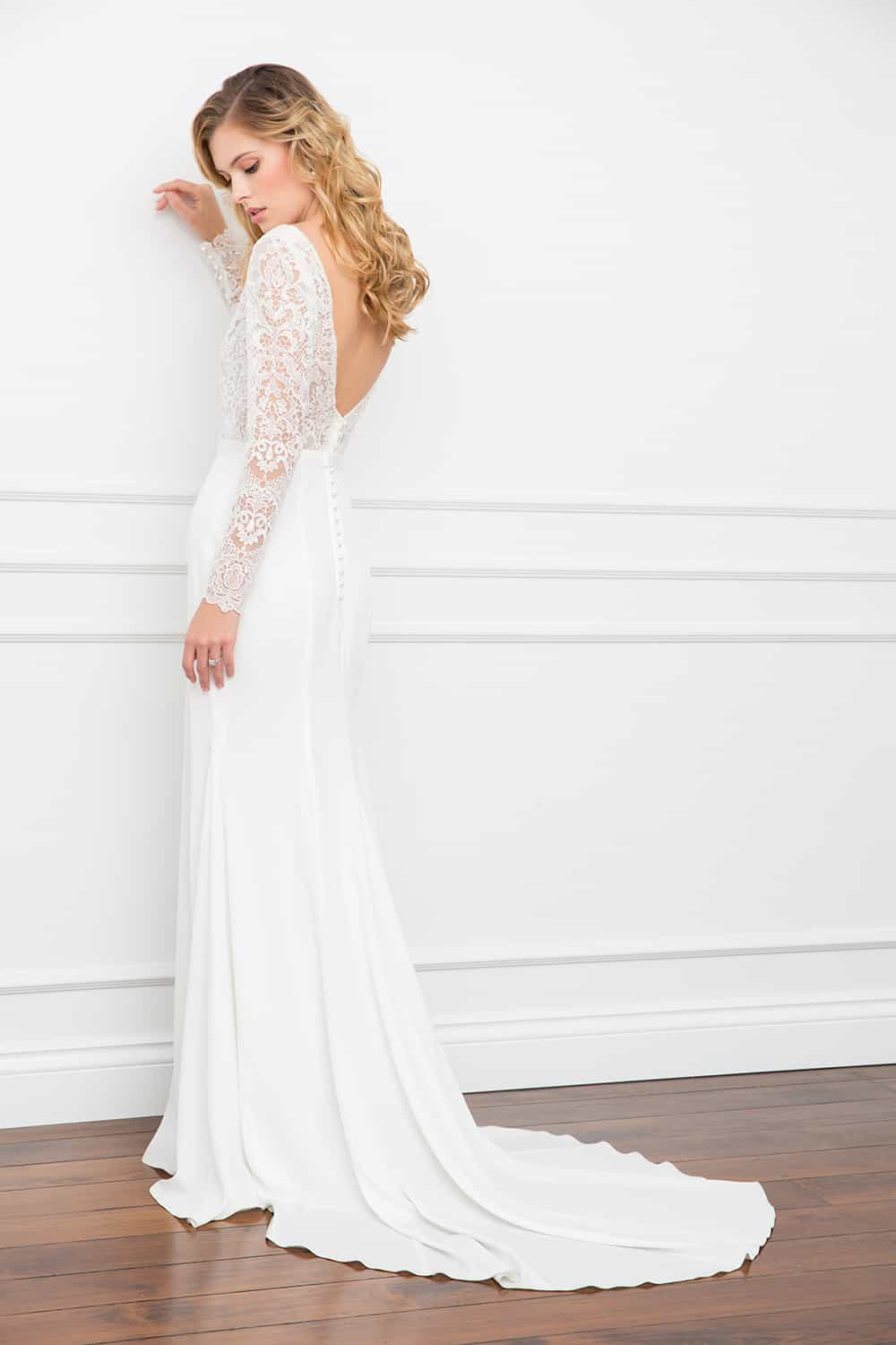 The Vanessa lace bodice with open back wedding gown from Wendy Makin Couture.