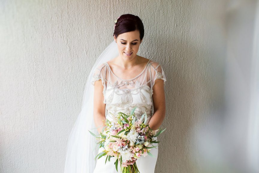 Hand-tied pastel hued wedding bouquet. Photo: Bonavita Photography