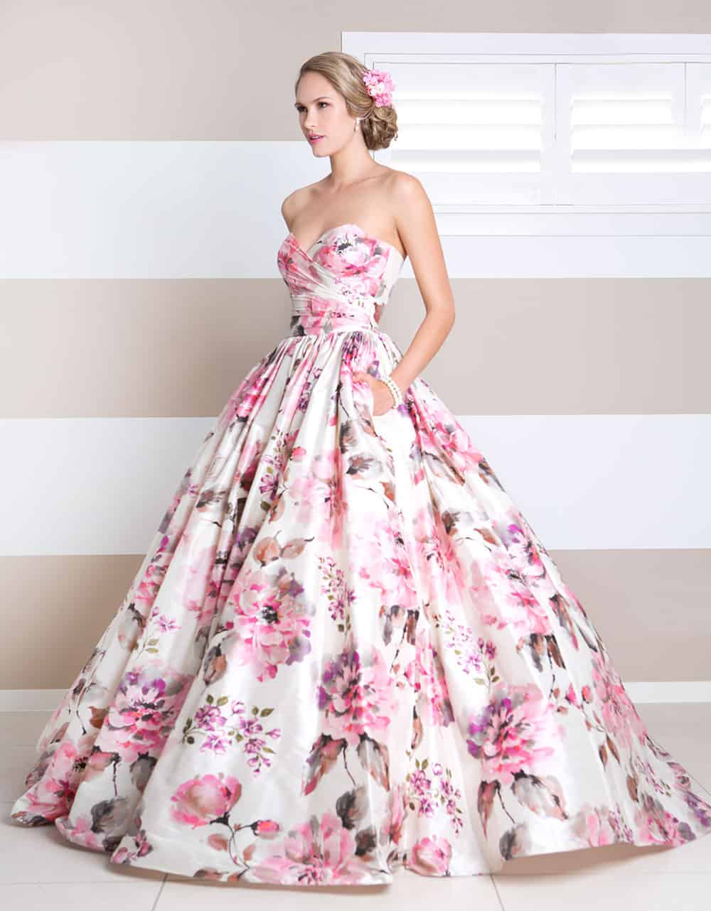 Floral pink-hued wedding gown from Wendy Makin.