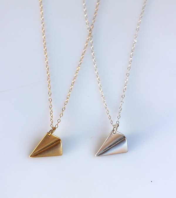 Origami paper plane necklace from etsy.