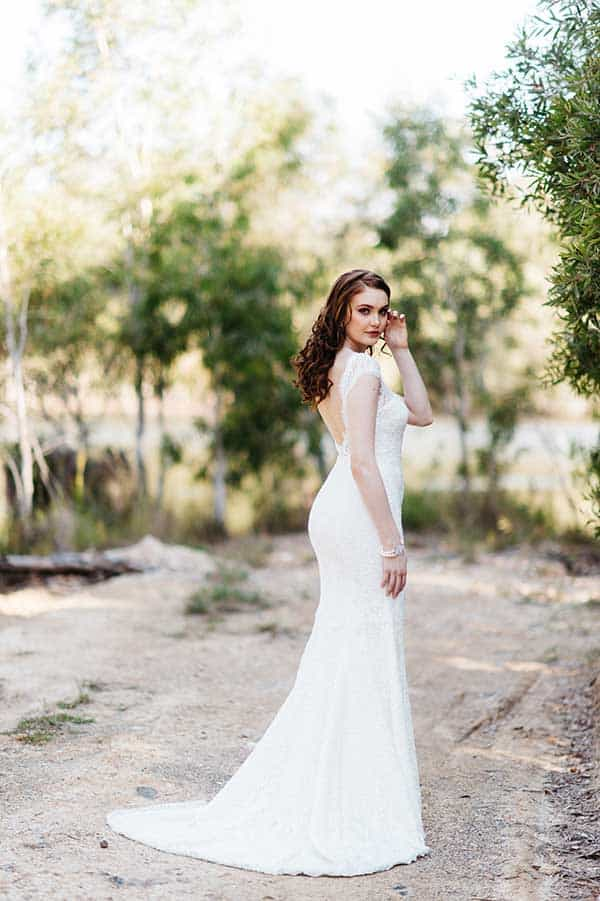 The Roxanne vintage wedding dress with an open back from BellaDonna Bridal.