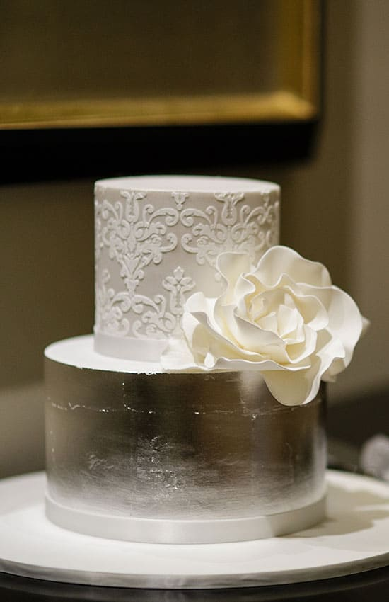 white and silver foil wedding cake