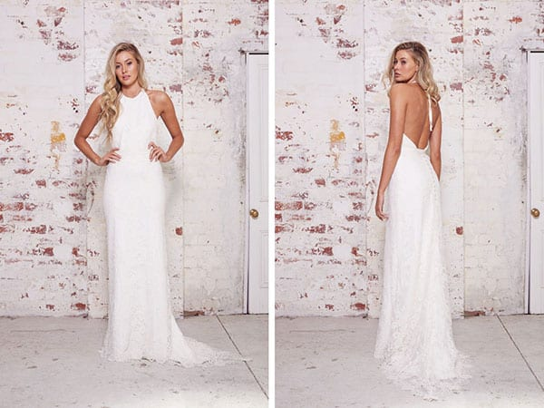 """Johanna"" halter backless wedding dress by Karen Willis Holmes."