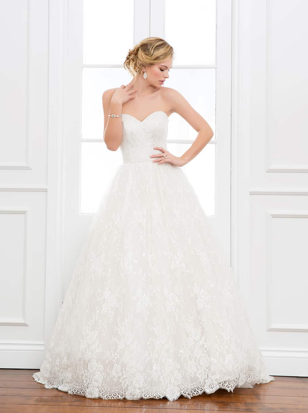 The Melita wedding gown with lace bodice in skirt from Wendy Makin Couture.
