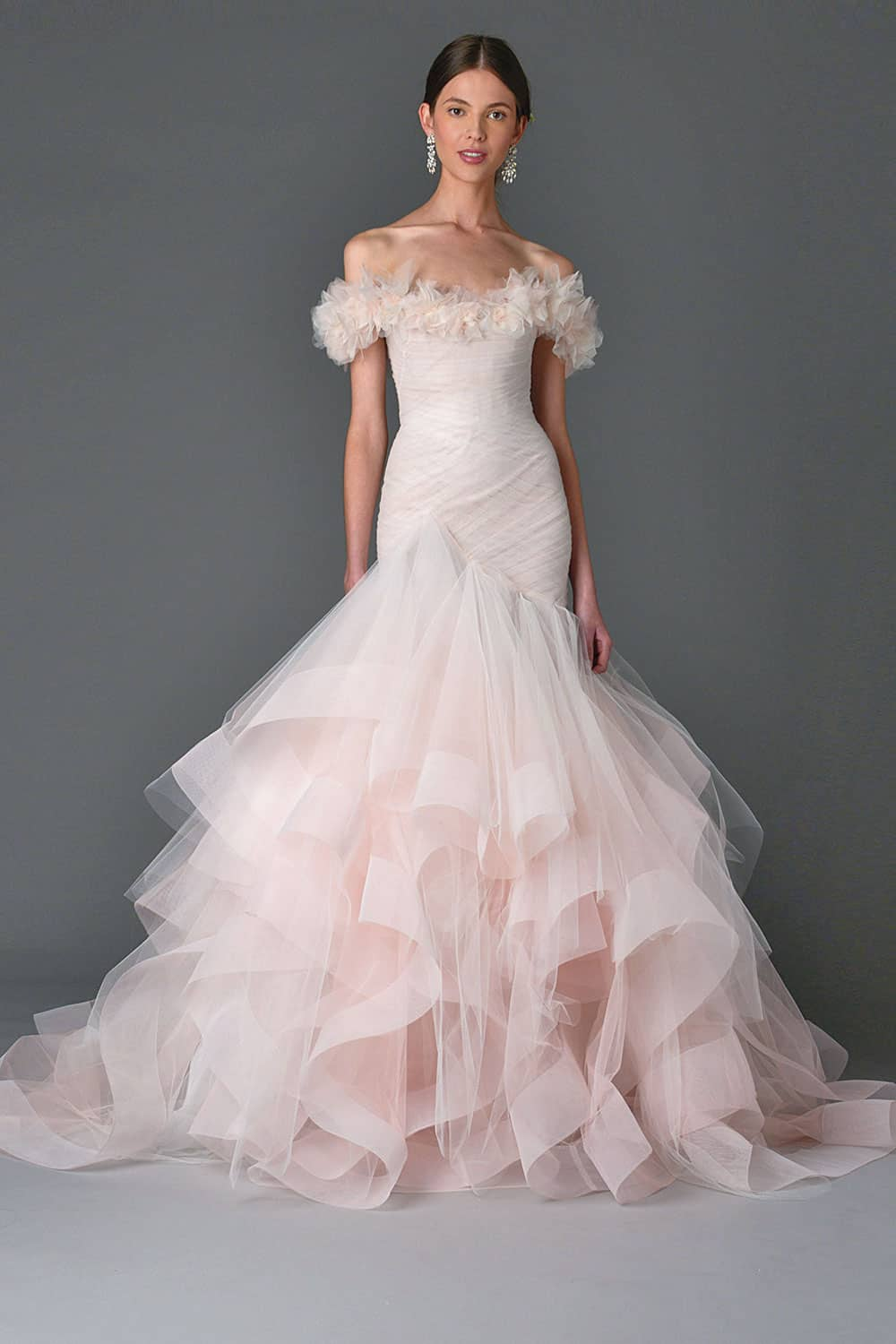 Pink wedding dresses: Blush pink mermaid wedding gown from Marchesa.