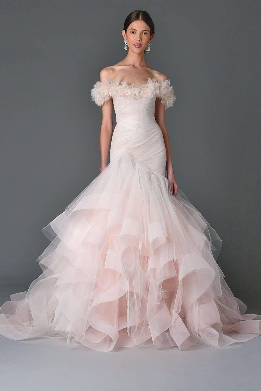 Pink wedding dresses: Blush pink mermaid wedding gown from Marchesa.