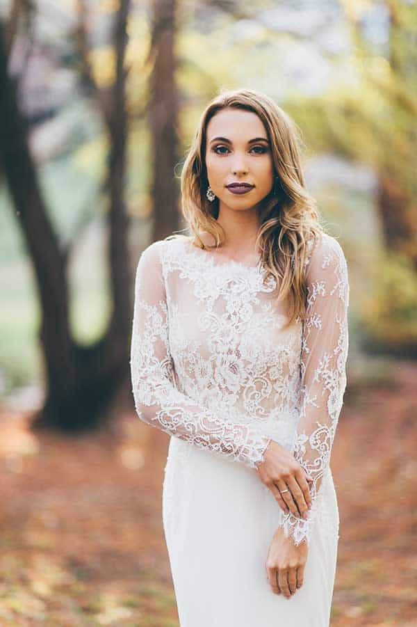 Gorgeous sheer lace long sleeve Yolande gown by Wendy Makin and BellaDonna Bridal.
