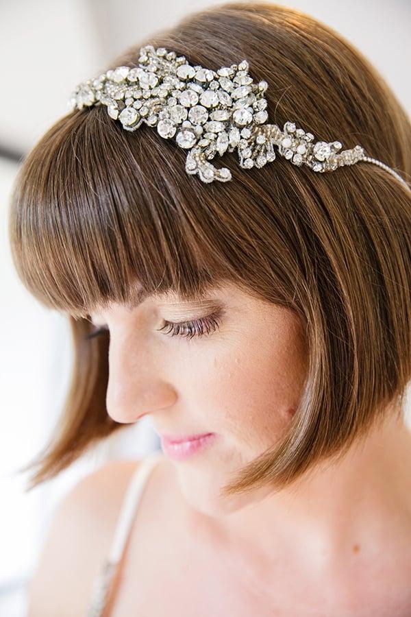 Real bride Jane with a short bob. Headpiece by Johanna Johnson. Karen Buckle Photography