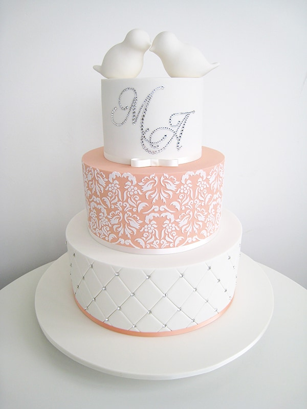 white, pink and silver 3 tier wedding cake