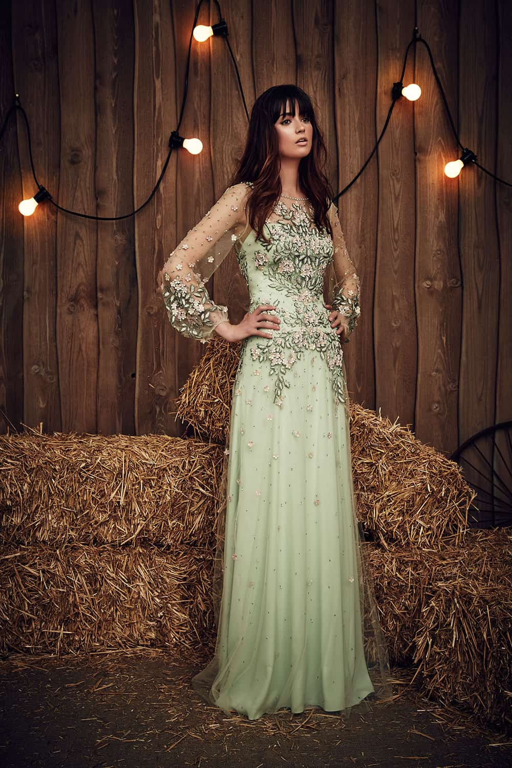 Mint toned embellished wedding gown from Jenny Packham.