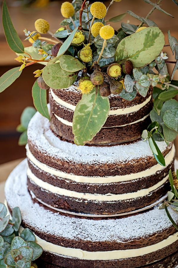 3-tier wedding cake with native florals.