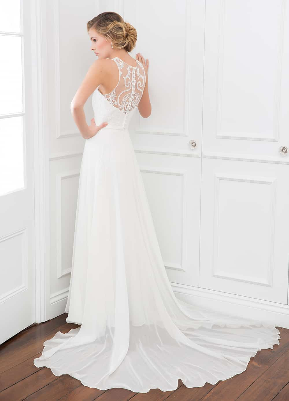 The Mariana gown with sheer lace back and train from Wendy Makin Couture.