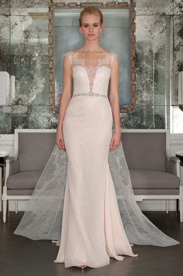 Pastel blush pink wedding gown from Romona Keveza.