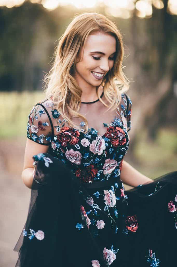 Rockabilly style black embellished floral wedding gown by Wendy Makin and BellaDonna Bridal.