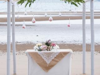 Intimate beach ceremony.