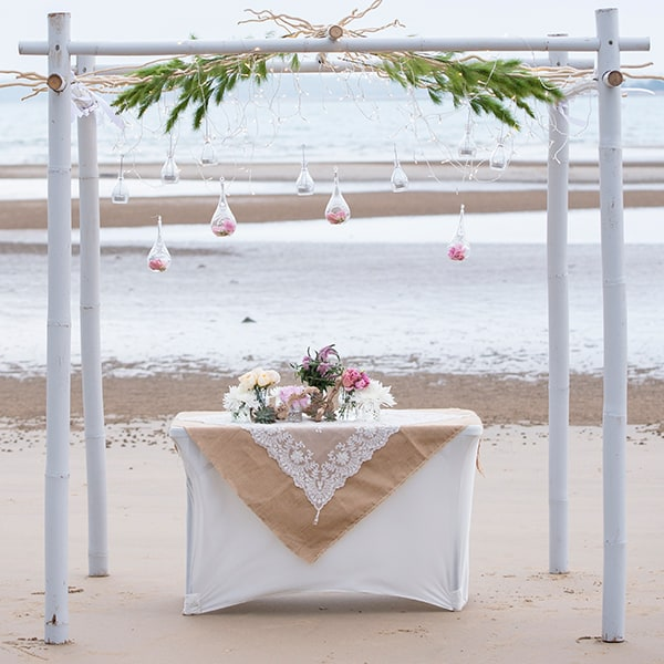 Intimate beach ceremony.