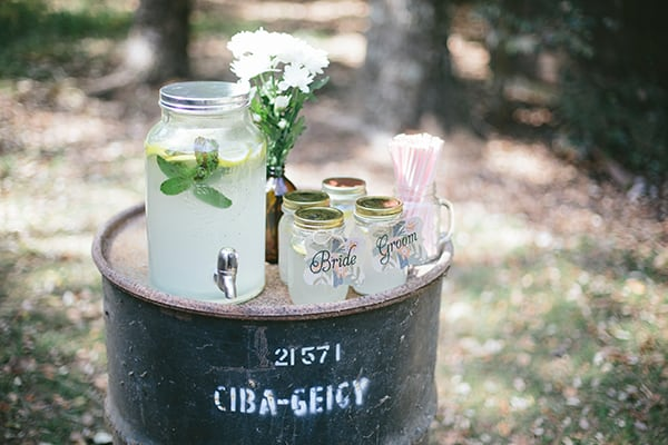 refreshment stand a country wedding using an old barrel.