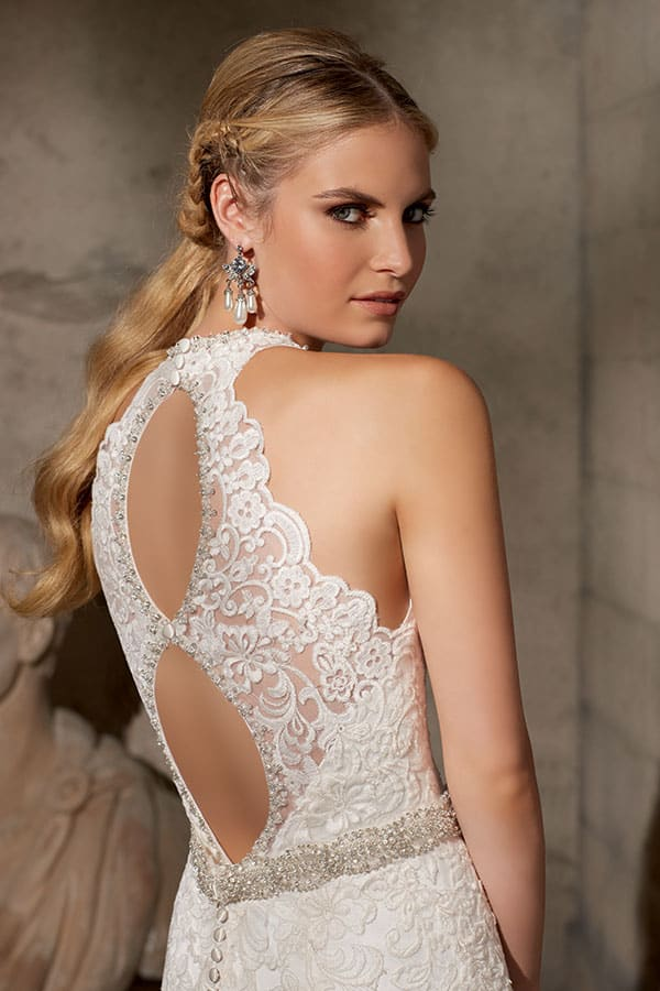 'Freya' backless wedding gown by Morie Lee available at White Lily Couture