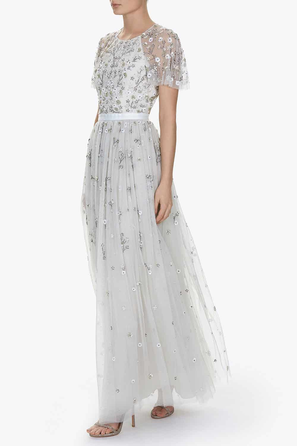 Silver sheer embellished wedding dress from Needle & Thread.