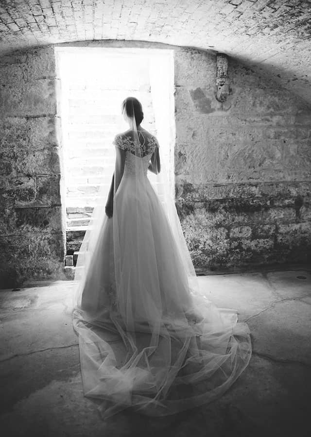 Back of wedding dress from Toscano Bridal 's 2016 bridal couture collection.