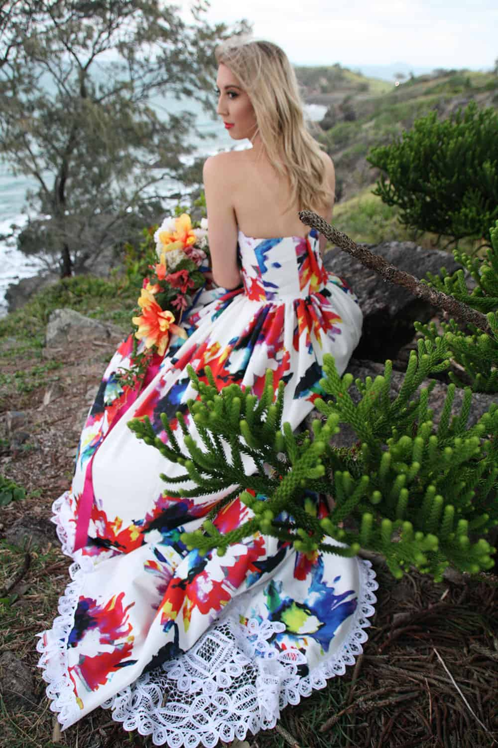 Anna Dutton Couture floral wedding dress.