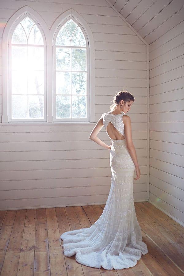 'Josie' backless wedding gown by Karen Willis Holmes.