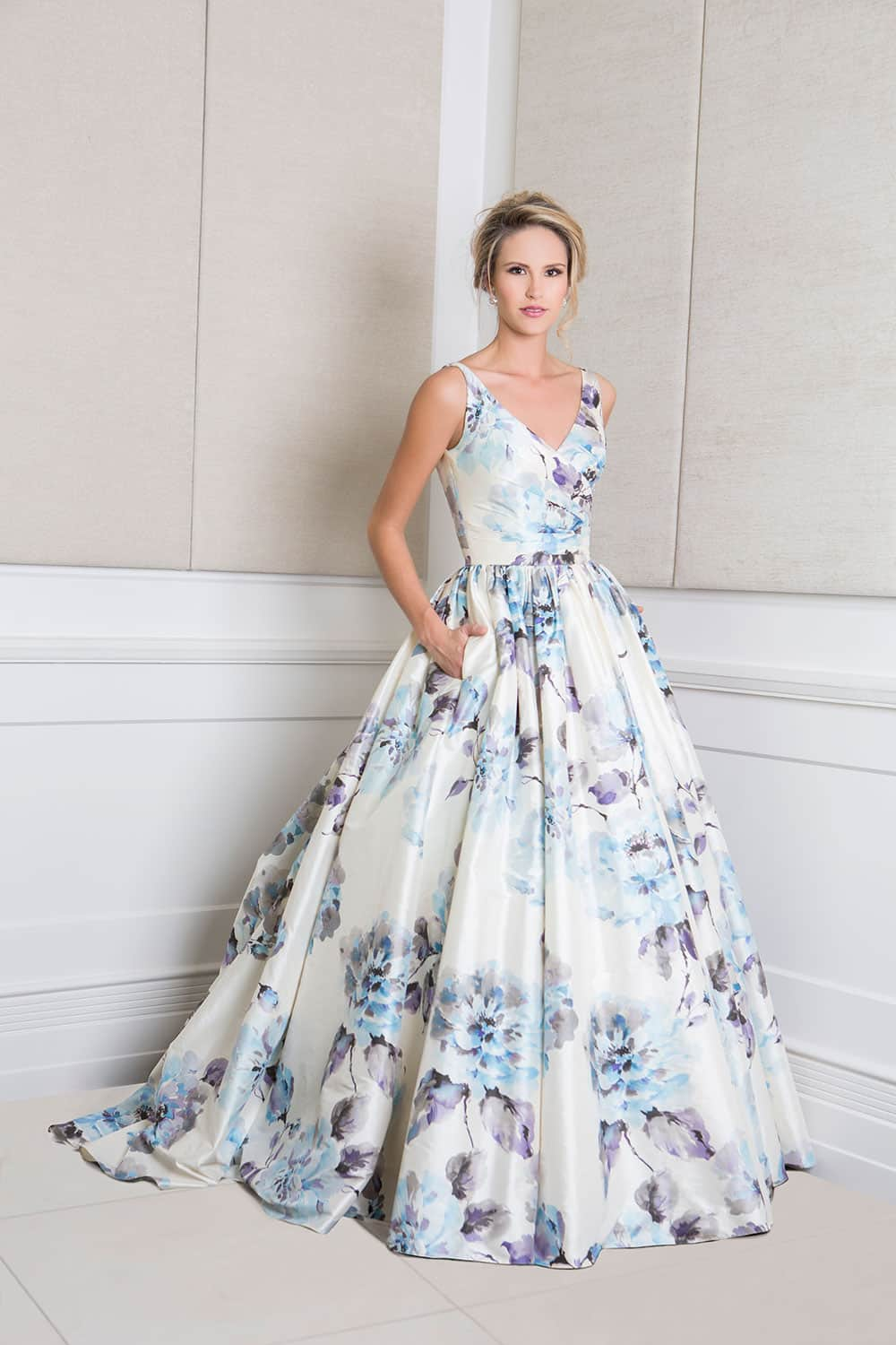Blue toned floral wedding gown from Wendy Makin.