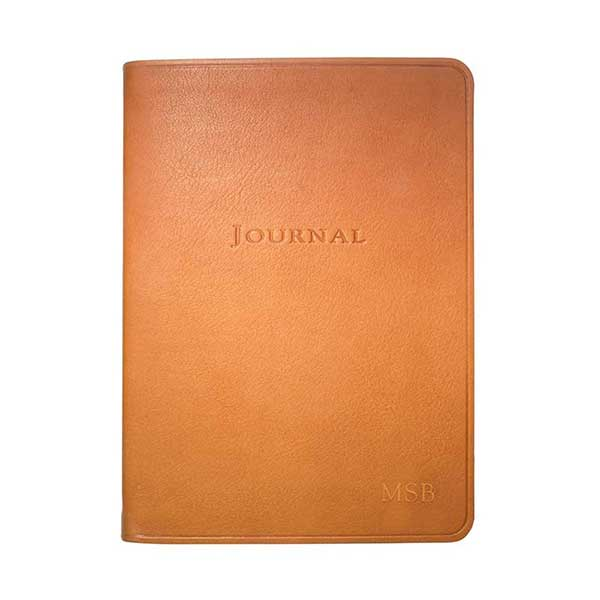 Personalised brown leather journal in british tan from Papier D'Amour.
