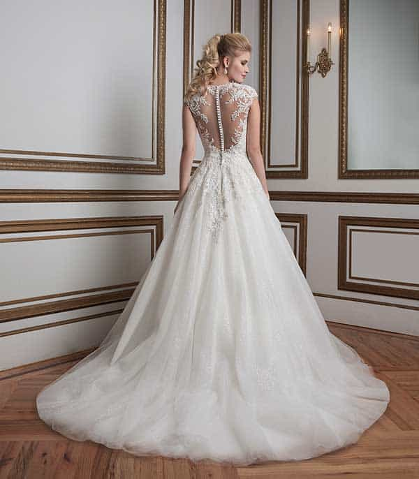 Lilian West sheer embroidered back wedding gown from Spring Summer 2016 collection