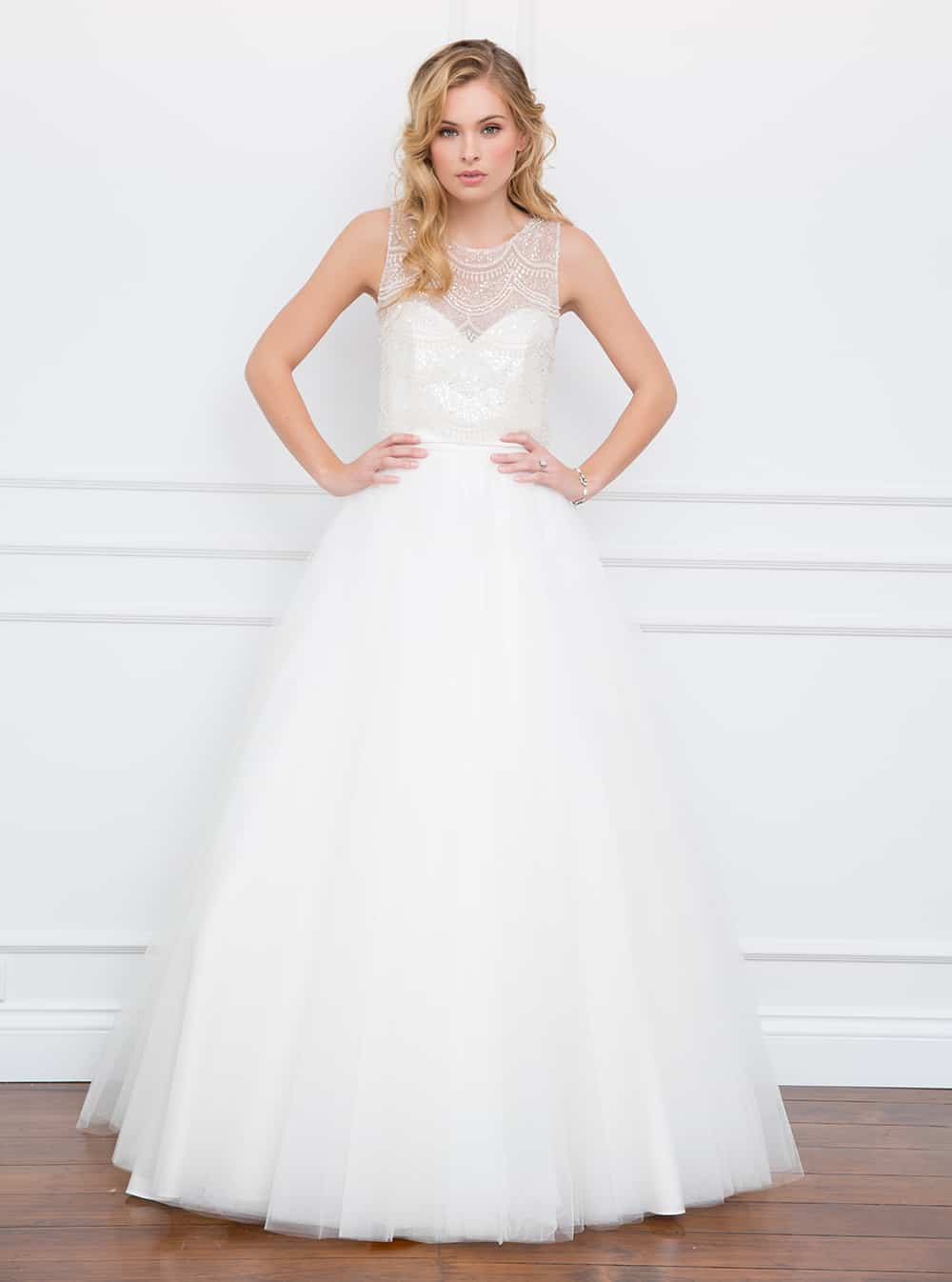 The Lulu wedding gown with sheer embellished bodice from Wendy Makin Couture.