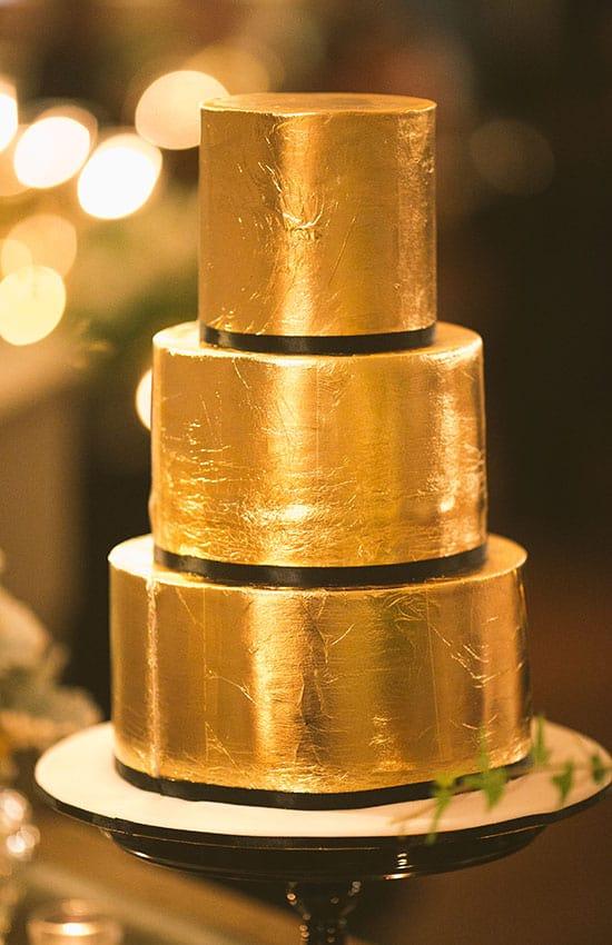gold foil, metallic wedding cake