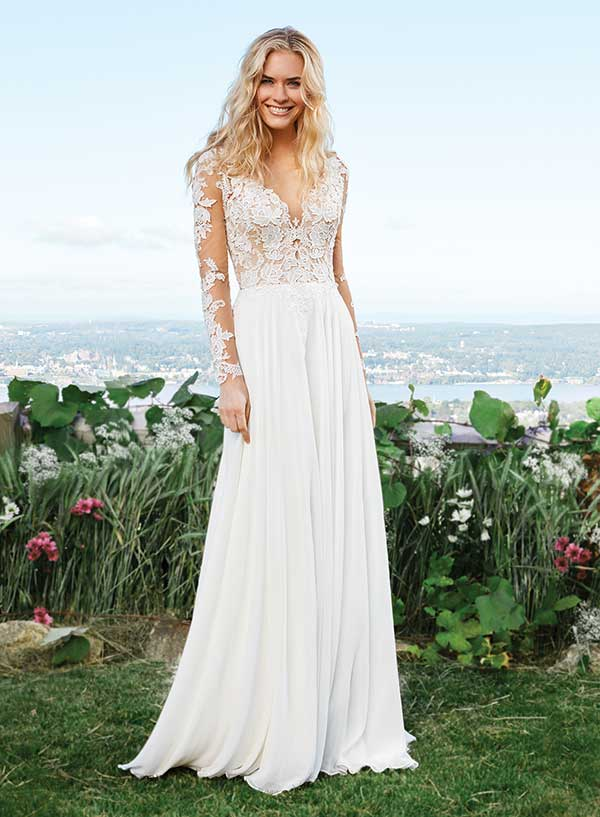 Lilian West sheer embroidered wedding gown from Spring Summer 2016 collection