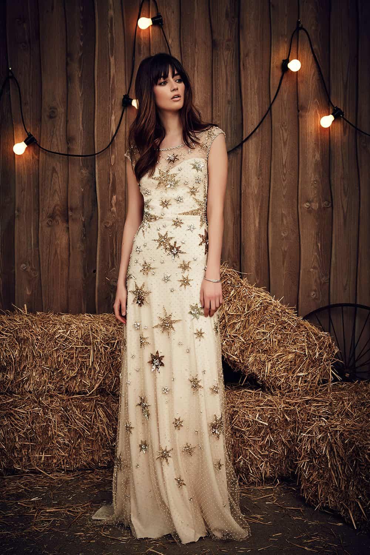 Sparkling star embellished gold wedding dress from Jenny Packham.