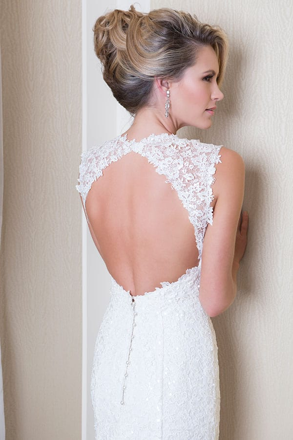 Lace cut-out backless wedding gown by Wendy Makin.