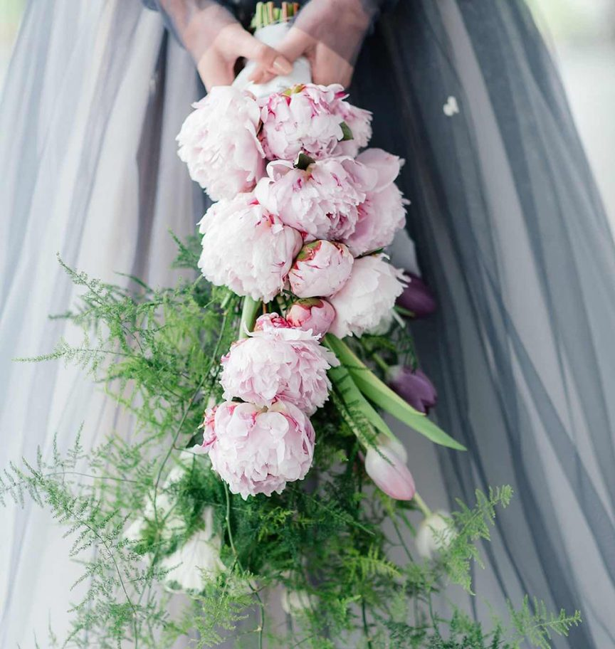 Cascading wedding bouquet.