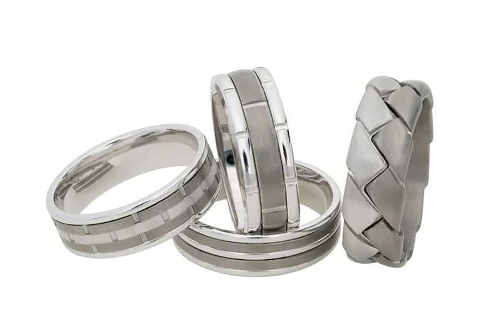 White, gold and titanium mens wedding band from Dora.
