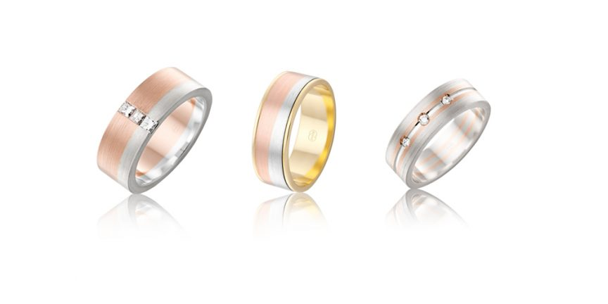 Rose gold, gold + silver mixed metal wedding bands with diamonds