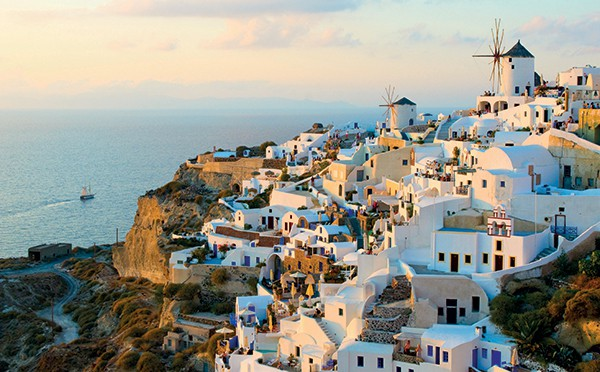 Santorini as a honeymoon destination.