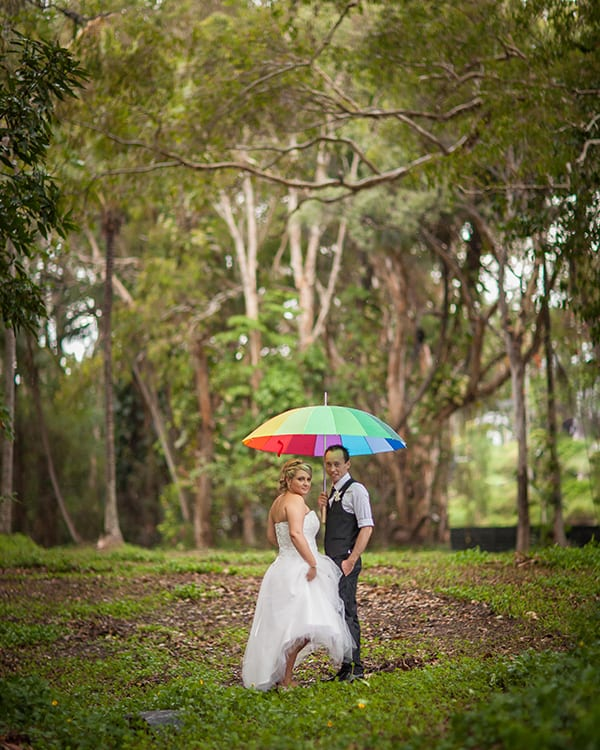 Bride and groom in the tropical North Queensland rainforest for their wedding.