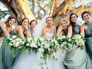 Forest green #bridetribe gowns to match forest florals.